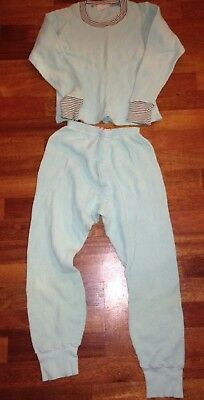 Vintage Health Knit All Cotton Children's Mint Colored Thermal Pajamas