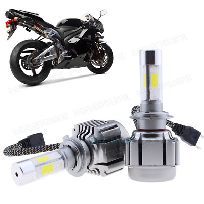 Pair 120W 12000LM H7 White LED Headlight Bulb Conversion Kit For Motorcycle