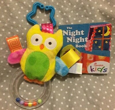 Like new Taggies owl rattle with bonus night time book!