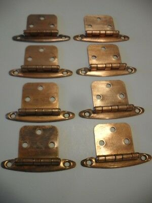 8 Vintage COPPER Plated Steel Cabinet Door HINGES Flush Mounted Type Pre-owned