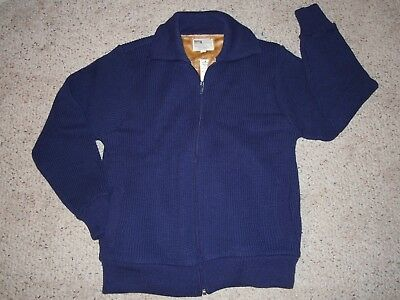 Vtg Men's L Montgomery Wards Navy Zip Front Knit Fur Lined Sweater/jacket Nwt