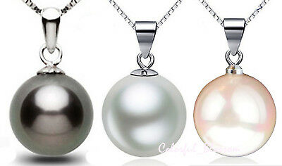 925 Sterling Silver Black White Pink Pearl Pendant Necklace Fashion Jewelry