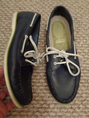 ROCKPORT~Adiprene by Adidas~NAVY blue LEATHER womens BOATSHOES~loafer/flats~9