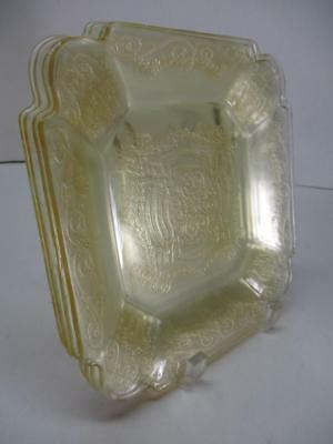 "4 Indiana Lorain Yellow Basket Depression Glass 7-3/4"" Squared Salad Plates"