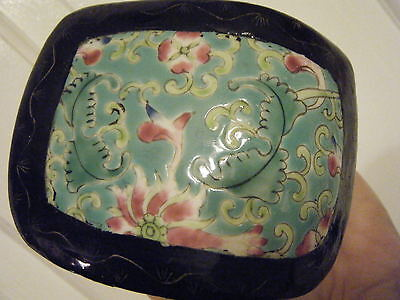 Black Lacquer Box With Chinese Porcelain Insert Beautful Turquoise Color