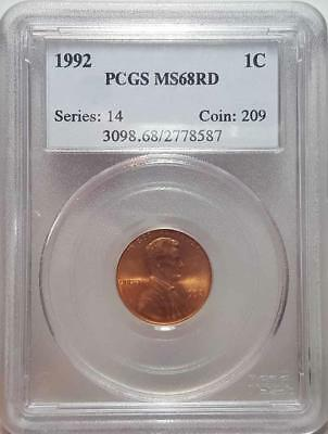 1992 Lincoln Cent Pcgs Ms68Rd - Scarce Cert# 2778587