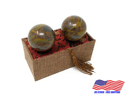 "1.75"" Marble Stone Baoding Chinese Health Exercise Balls Massage Stress Relief"