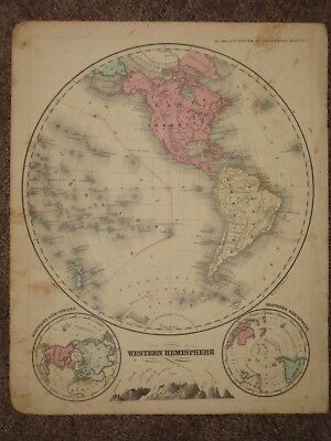 1860 WESTERN HEMISPHERE ANTIQUE MAP McNally Atlas CIVIL WAR Era ORIGINAL!