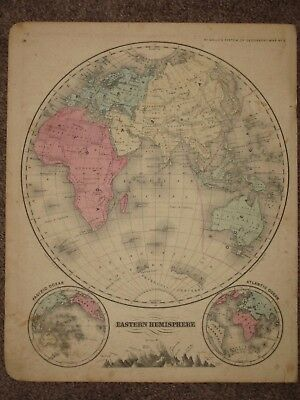 1860 EASTERN HEMISPHERE ANTIQUE MAP McNally Atlas CIVIL WAR Era ORIGINAL!