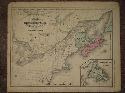 1860 CANADA NEWFOUNDLAND ANTIQUE MAP McNally Atlas CIVIL WAR Era ORIGINAL!