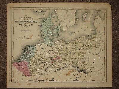1860 PRUSSIA BELGIUM HOLLAND ANTIQUE MAP McNally GEOGRAPHY Atlas CIVIL WAR Era