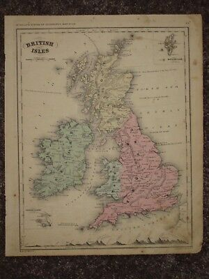 1860 GREAT BRITAIN IRELAND SCOTLAND ANTIQUE MAP McNally GEOGRAPHY Atlas