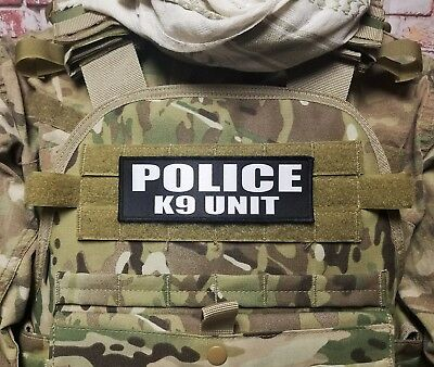 POLICE K9 UNIT 2x6 Black White Tactical ID Raid  Hook Military Morale Patch