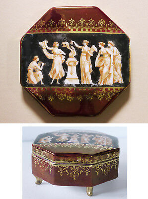 Antique footed porcelain dresser box, classical women, painted, gilt, signed