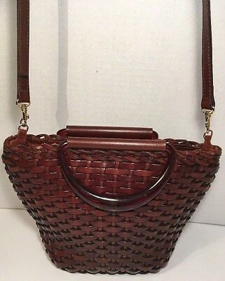 Maraolo Vintage Brown Woven Leather Small/Petite Crossbody Shoulder Bag