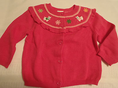 GYMBOREE 12-18 Month Cheery All The Way Embroidered Pink Cotton Sweater NWT