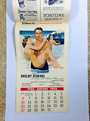 Vintage Calendar Liberty 1933 1978 Advertising Featuring Movie and Local Ads IN