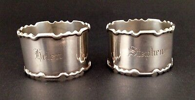 Pair Antique Australian Proud sterling silver napkin rings both name engraved