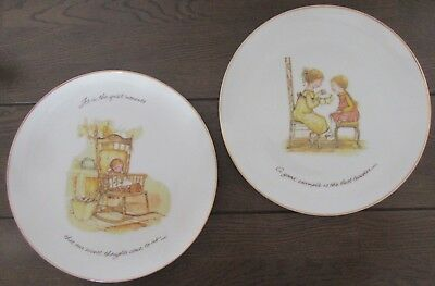 VINTAGE HOLLY HOBBIE PORCELAIN PLATES (x2)  - 26.5CM WIDE IN EX COND.