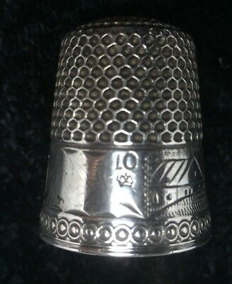 U0018-02, Antique Sterling Silver Castle Styled Size 10 Thimble