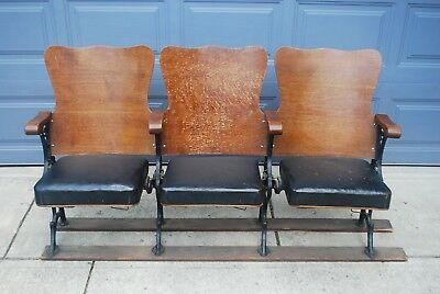 Vtg Antique Wooden Cast Iron Theater Movie Seats 1 of 2 Sets Available Steampunk