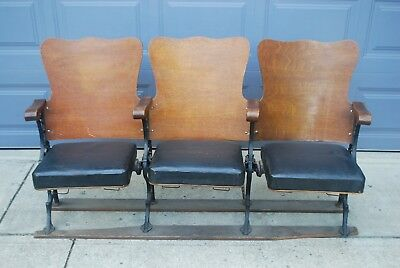 Vtg Antique Wooden Cast Iron Theater Movie Seating - 2 Sets Available Steampunk
