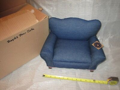 Rare Boyds Bears Accessory Cloth Upholstered Blue Sofa / Couch & Pillow (Lot I)