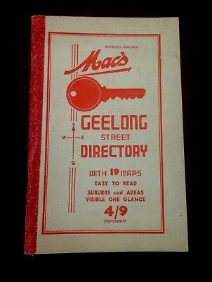 Vintage 40's-50's  Mac's 7th edition Geelong Street Directory with 19 maps