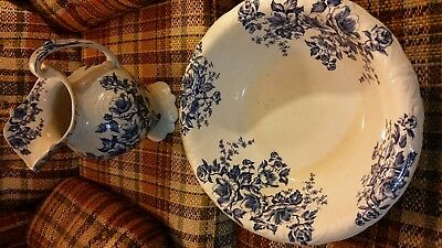 Rare Antique Dudson Wilcox Till Water Pitcher & Wash Basin Anemone Floral 1900s