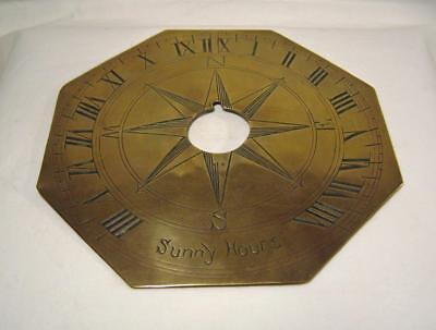 "Hand Engraved C19th/20th Brass Sundial: inscribed ""Sunny Hours"" Missing Gnomon"
