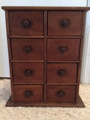 Old Antique  Primitive Wooden Eight Drawer Wall Hanging Spice Cabinet
