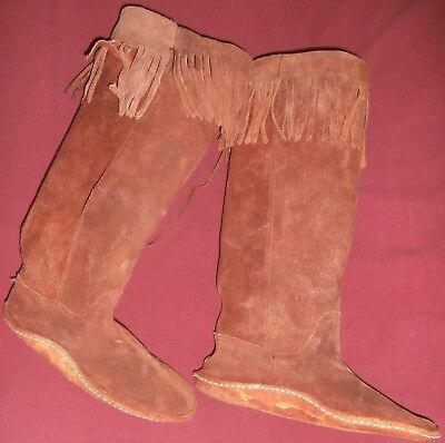 """Vintage Leather/suede 14"""" High Fringed Hippie,western,boho Boots~Size?~Read Info"""