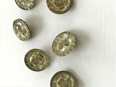 Vintage Buttons - 1930's 6 Mirror Backed Metal Shank Czech Made Glass buttons