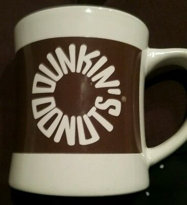 Dunkin'  Donuts 2010 Coffee Mug White With Circular Brown Letters Ceramic