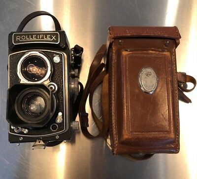 1950s Rolleiflex Automat 6x6 Model K4A F/3.5 TLR Camera + Leather Case Xenar