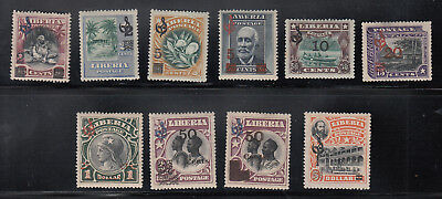 Liberia # O76-85 MINT Complete 1915-16 Surcahrge Issue