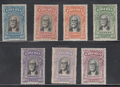 Liberia # F10-14 + F11b & F13b Color Varieties MNH 1903 Registration Issue