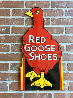 """RED GOOSE SHOES FOR BOYS AND GIRLS PORCELAIN DIECUT ADVERTISING SIGN 24x12""""😎"""