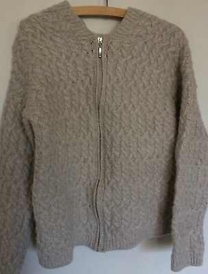 Vintage Hand Knitted Pure Wool Cable Aran Hooded Cardigan Size 14-16