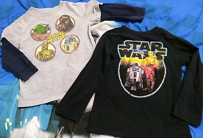 Star Wars Lot 2 Long-Sleeve Shirts 4t 5t Boys Yoda R2D2 Chewbacca Chewy Droids
