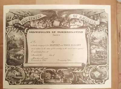United States Of America Civil War Certificate Of Commendation