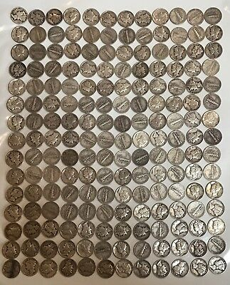 Lot of 180 Circulated US Mercury Dimes (Mixed Dates) 90% Silver Coins
