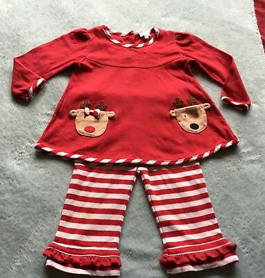 Le Top,designer,red,christmas,reindeer/striped Frill Pyjamas/outfit Age 2