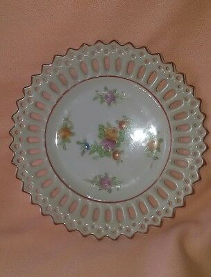 Vintage/Antique Coronation China Peach & Pink Roses Lace Edging Plate JAPAN