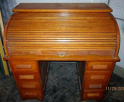 Roll Top Office Desk Vintage Table Arts Crafts Modern Mid Century Local NY PU