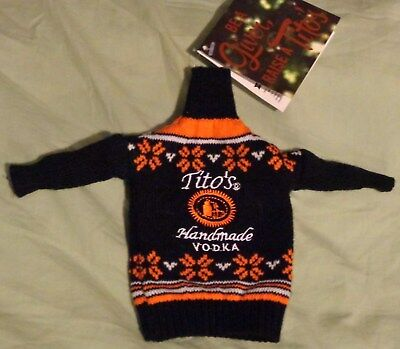 Tito's Vodka Coozie - Knit Ugly Christmas Sweater - Fits 0.75L (1/5) Bottle..NEW