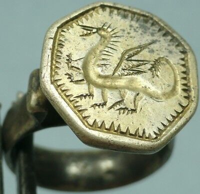 Medieval Silver Shield Ring, Dragon