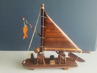 Handmade Wood Sailboat With Wood Sail And String Toy