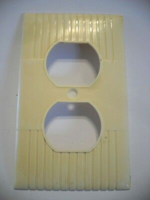 Vintage IVORY Wide Ribbed Duplex Outlet Wall Cover Plate Donwood U.S.A. Art Deco