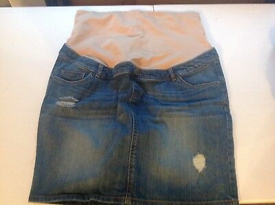 Indigo Blue Women's Blue Jean Denim Maternity Skirt Size L Premium Denim